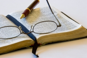 open Bible pen & glasses