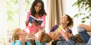 Laughing women in book club